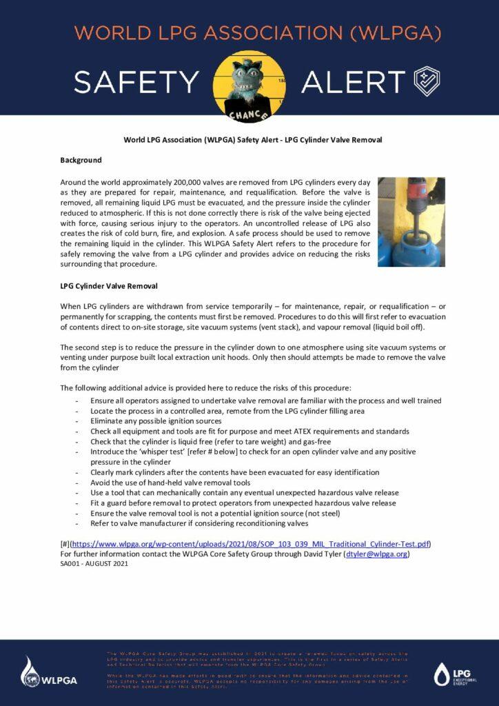 World LPG Association (WLPGA) Safety Alert – LPG Cylinder Valve Removal